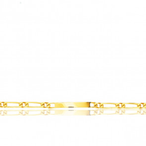 Gourmette Identité Maille Cheval Alterné, Or Jaune 18K, 24 cm