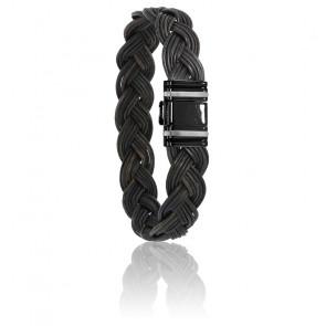 Bracelet 698N Poils Éléphant Tressé, Acier & Or Blanc 18K