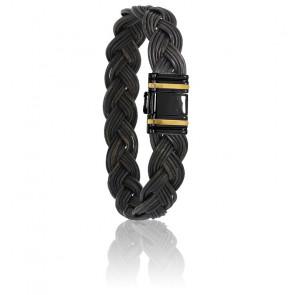 Bracelet 698N Poils Éléphant Tressé, Acier & Or Jaune 18K