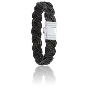 Bracelet 696 Poils Éléphant Tressé & Or Blanc