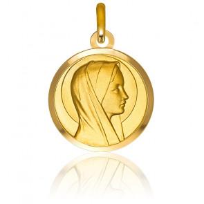 Médaille Ronde Vierge de Profil Or Jaune 9K
