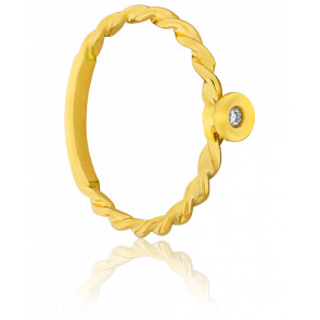 Bague Valse Or Jaune 18K & Diamant 0.02 carat