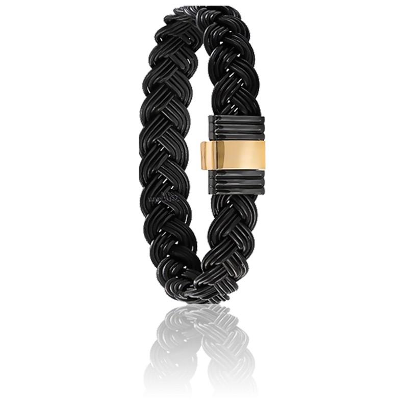 Bracelet 699N Poils Éléphant Tressé, Acier & Or Jaune 18K