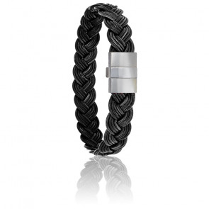 Bracelet 604 Cuir Tressé Noir & Acier