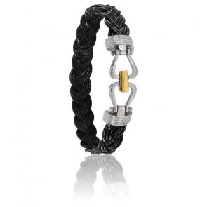 Bracelet 731 Cuir Tressé Noir, Acier & Or Jaune 18K
