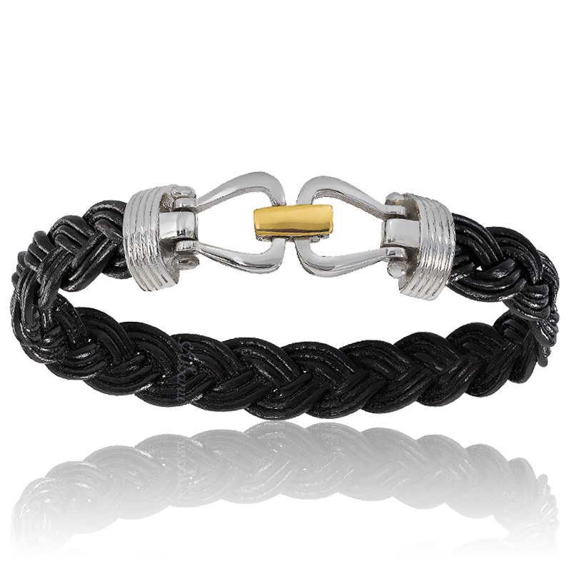 80b59cbdf8f Bracelet 731 Cuir Tressé Noir Acier Or Jaune 18K - Albanu - Ocarat