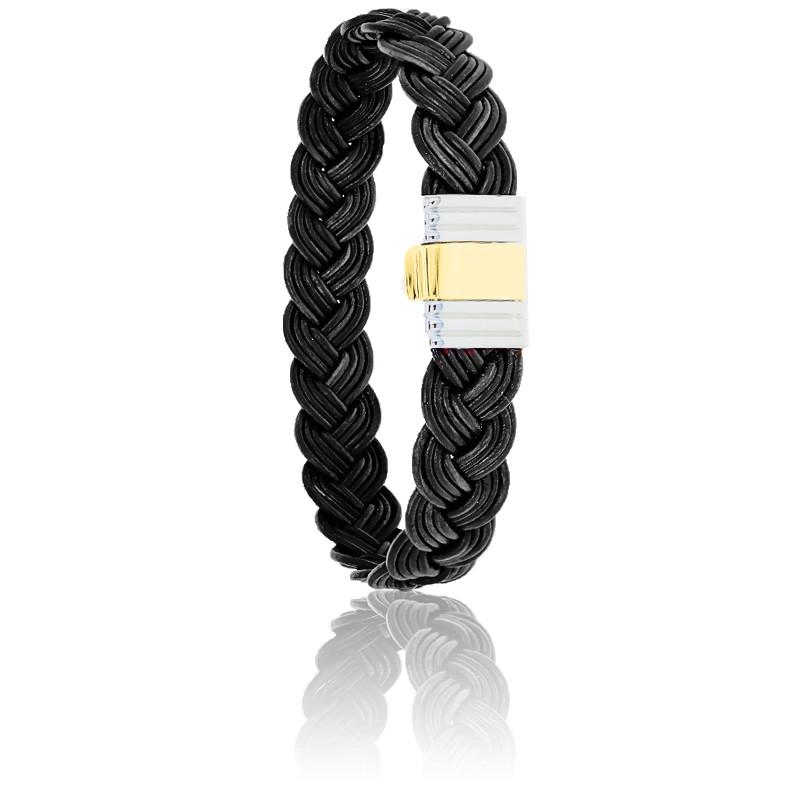Bracelet 699 Cuir Tressé Noir & Or Jaune 18K