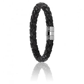 Bracelet 702 Cuir Tressé Noir & Acier
