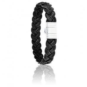 Bracelet 696 Cuir Tressé Noir & Acier