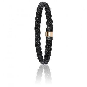 Bracelet 614N Cuir Tressé, Acier PVD & Or Jaune 18K