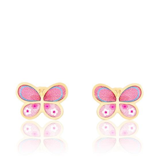 Boucles d'Oreilles Papillon Rose Email Vernie & Or Jaune 18K