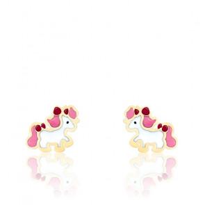 Boucles d'Oreilles Poney Email Vernie & Or Jaune 18K