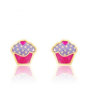 Boucles d'Oreilles Cupcake Email Vernie & Or Jaune