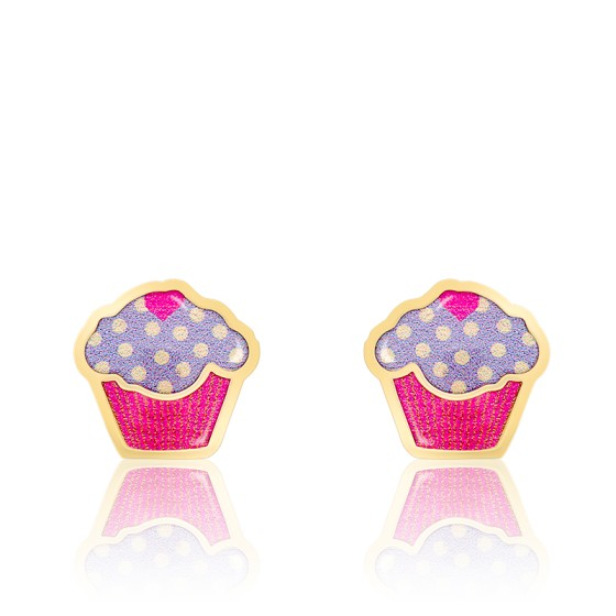 Boucles d'oreilles cupcake email & or jaune