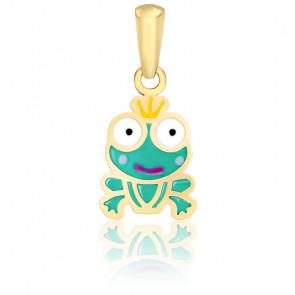 Pendentif prince grenouille email & or jaune