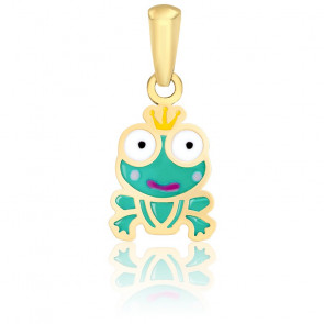 Pendentif Prince Grenouille Email Vernie & Or Jaune