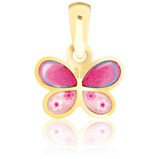 Pendentif papillon rose & or jaune