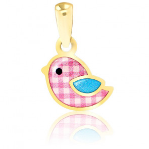 Pendentif Moineau Email Vernie & Or Jaune 18K