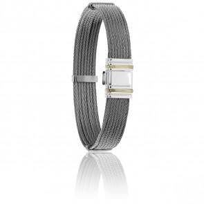 Bracelet 698 Câbles Droits Acier & Or Jaune 18K