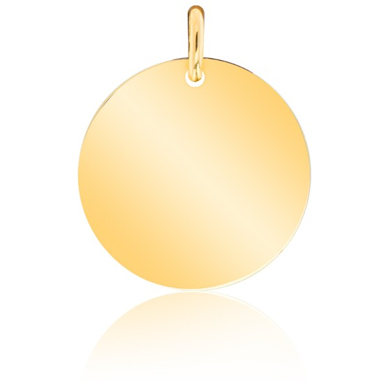 Médaille Ronde Polie Or Jaune 18K