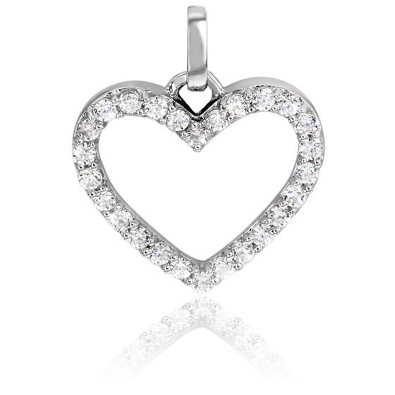 Pendentif Coeur Pavé Diamants & Or Blanc 18K