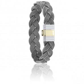 Bracelet 699 Câbles Tressés, Acier & Or Jaune