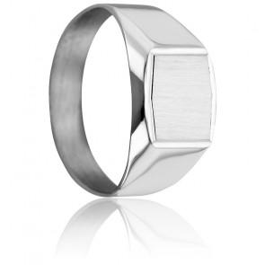 Chevalière Hexagonale 9 x 11 mm Or Blanc 18K