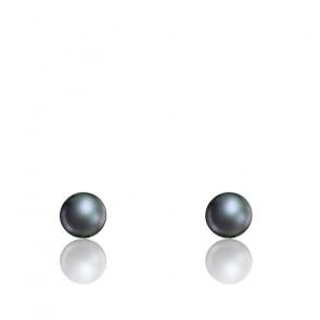 Puces d'oreilles perles d'eau douce noires & or jaune 18K