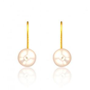 Boucles d'Oreilles Dormeuses Perles Blanches & Or Jaune 18K