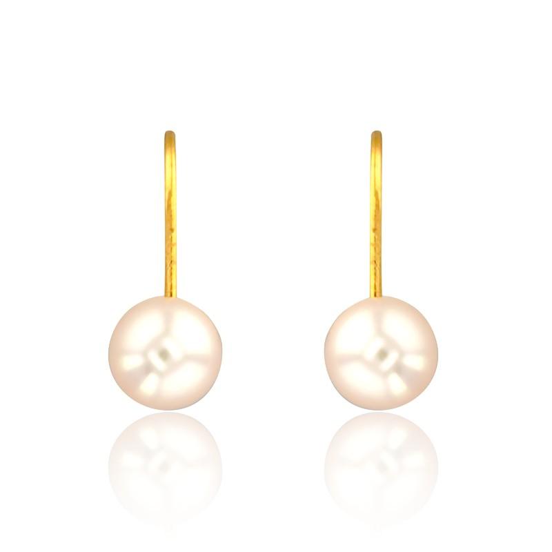 Boucles D Oreilles Dormeuses Perles Blanches Or Jaune 18k Ocarat