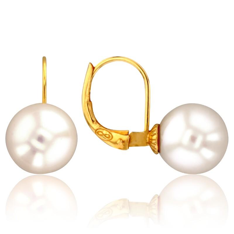 Boucles d/'Oreilles Dormeuse Chandelier Dentelle Perle Plaqué Or CZ Blanc G6 72