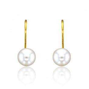 Boucles d'oreilles dormeuses perles Akoya & or jaune 18 carats