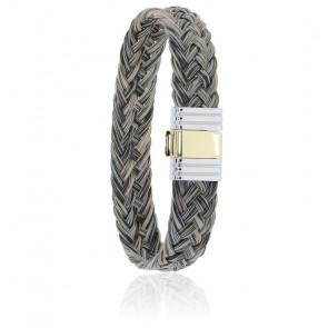 Bracelet 699 Crin de Cheval Gris, Acier & Or Jaune 18K