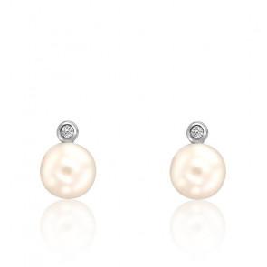 Boucles d'Oreilles Barcelona Perles, Diamants & Or Blanc 18K