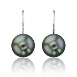 Boucles d'Oreilles Dormeuses Perles Tahiti & Or Blanc 18K