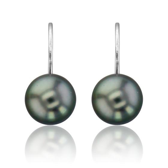Boucles d'oreilles dormeuses, perles de Tahiti & or blanc 18K