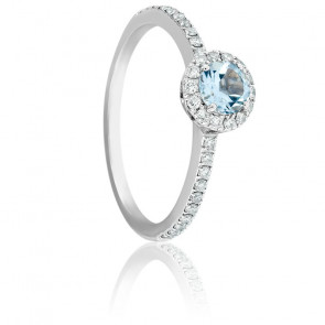 Bague Soleilka Aigue Marine, Diamants & Or Blanc 18K