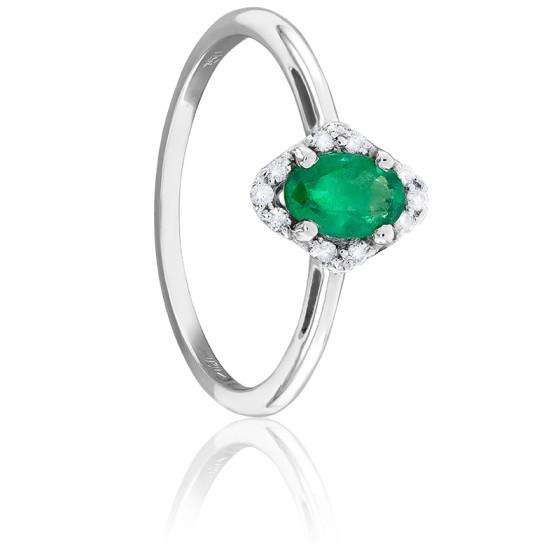 Bague Losange Emeraude, Diamants & Or Blanc 18K