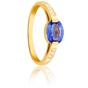 Bague Ovale Saphir, Diamants & Or Jaune 18K