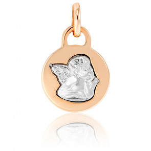 Médaille Ronde Ange Or Blanc & Or Rose 18K
