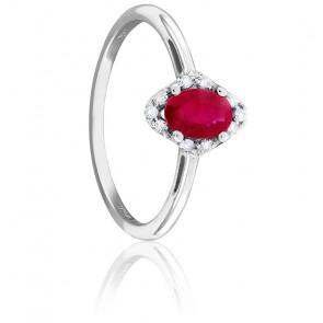 Bague Losange, Or blanc, Rubis & Diamants