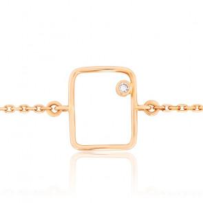 Bracelet Fil Rectangle Diamant & Or Jaune 18K