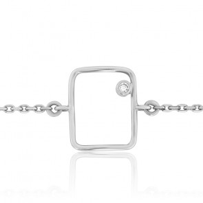Bracelet Fil Rectangle Diamant & Or Blanc 18K