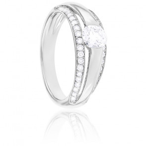 Bague Leila Diamants & Or Blanc 18K