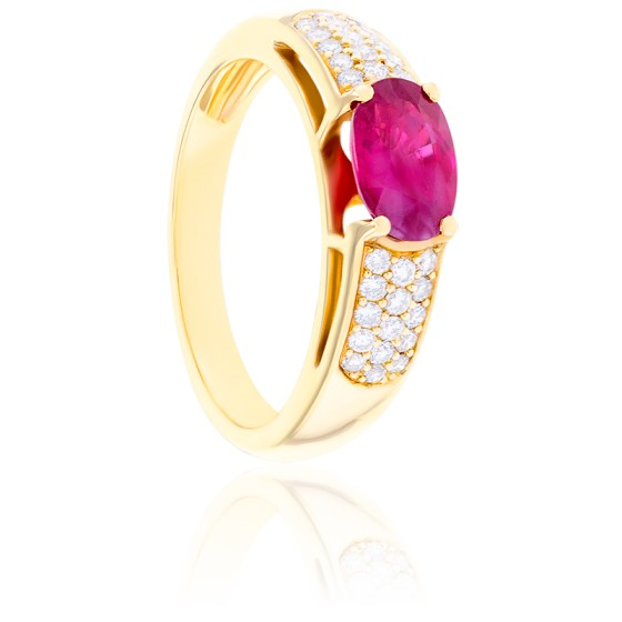 Bague Mary Rubis, Diamants & Or Jaune 18K