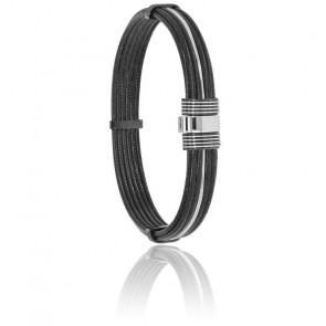 Bracelet 601 Câble Acier Noir & Or Blanc 18K