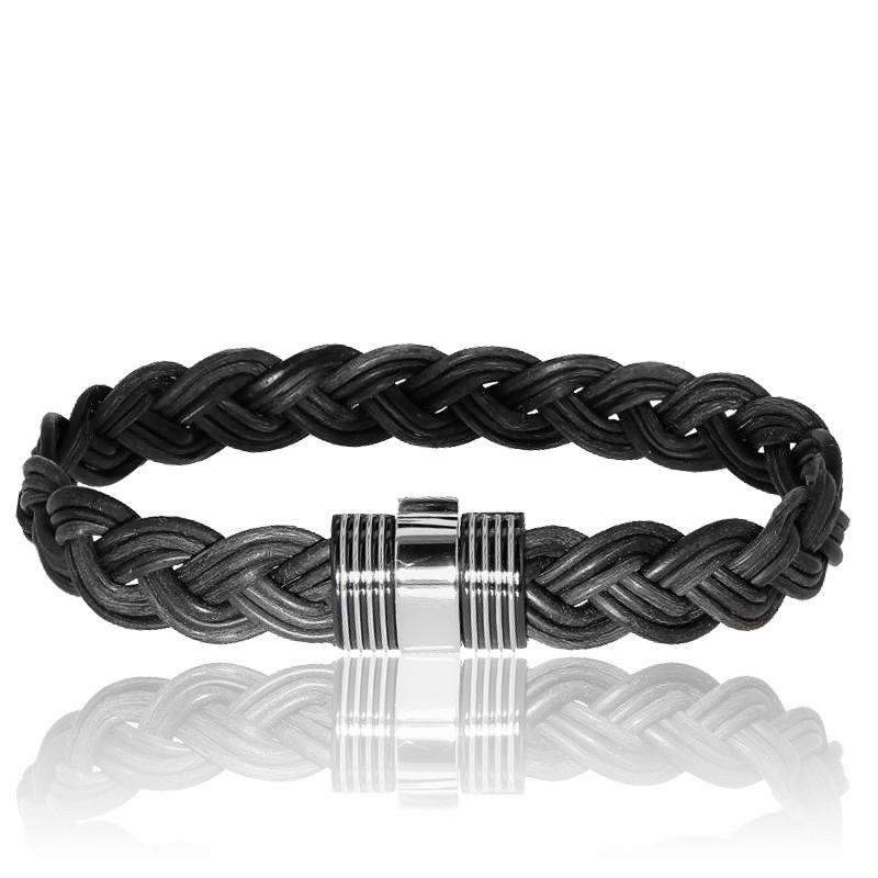 bracelet 601 cuir poils d 39 l phant or blanc albanu ocarat. Black Bedroom Furniture Sets. Home Design Ideas