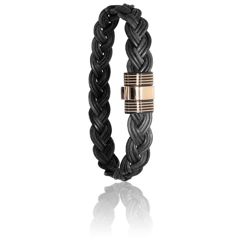 bracelet 601 cuir poils d 39 l phant or rose albanu ocarat. Black Bedroom Furniture Sets. Home Design Ideas