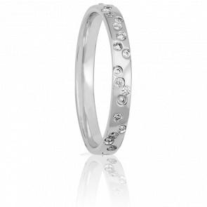 Alliance Petite Constellation Or Blanc et Diamants