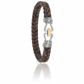 Bracelet 731 Norique Crin de Cheval Marron, Acier & Or Jaune 18K